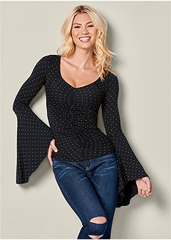 ruched bell sleeve top