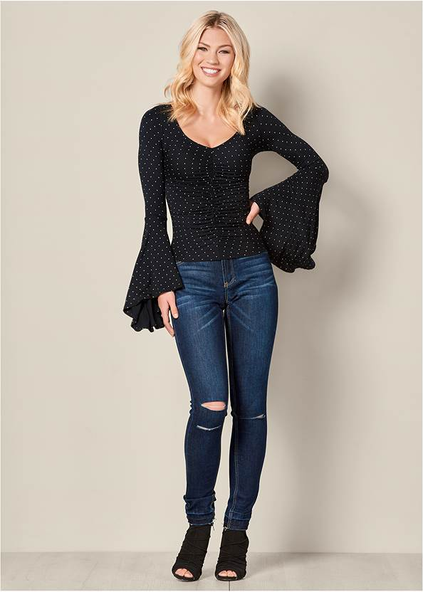 Alternate View Ruched Bell Sleeve Top