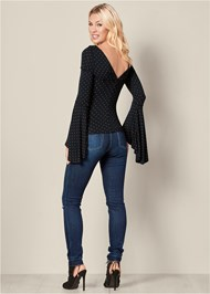 Back View Ruched Bell Sleeve Top
