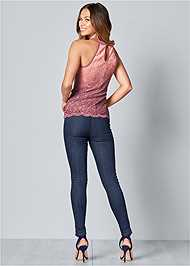 Back View Glitter Ombre Lace Top