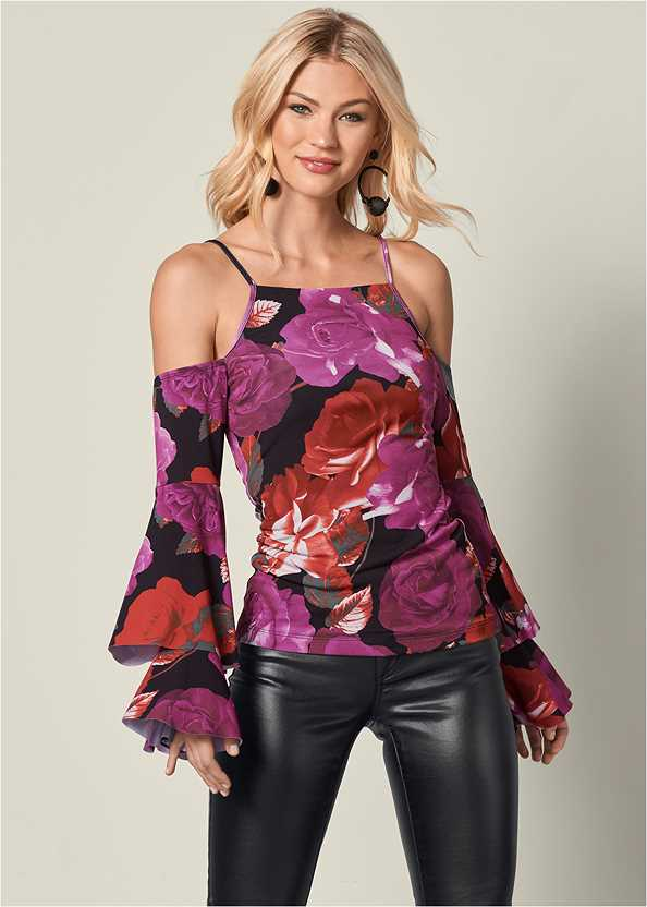 Ruffle Cold Shoulder Top,Faux Leather Pants,Over The Knee Mini Tie Boot,Bauble Hoop Earrings,Mid Rise Slimming Stretch Jeggings