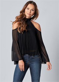 Front View Pleated Cold Shoulder Top