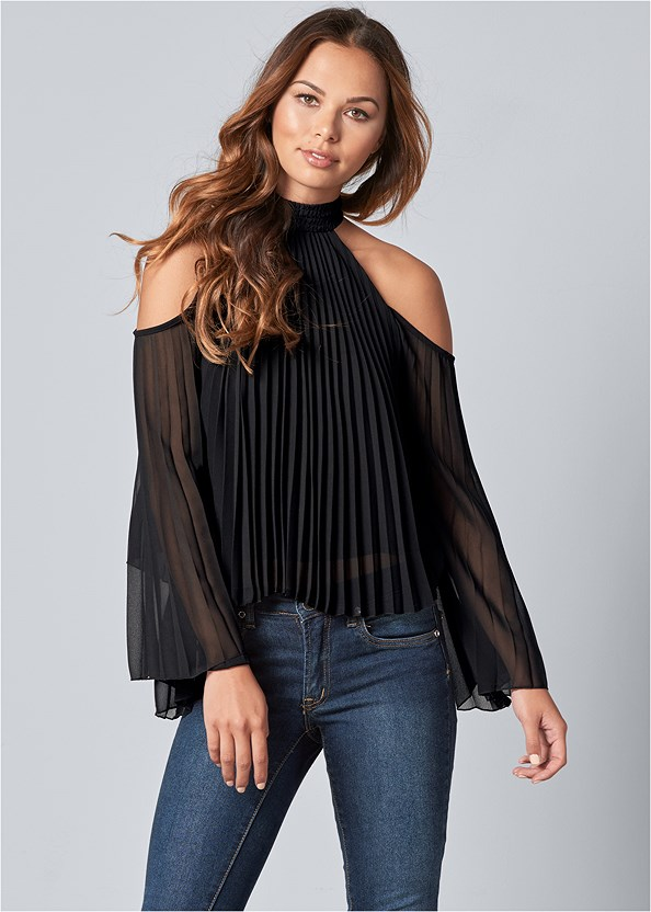 Pleated Cold Shoulder Top,Mid Rise Color Skinny Jeans,High Heel Strappy Sandals