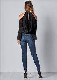Back View Pleated Cold Shoulder Top