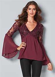 Front View Bell Sleeve Top