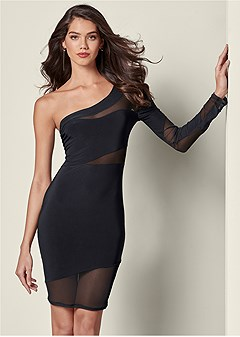 mesh detail bodycon dress