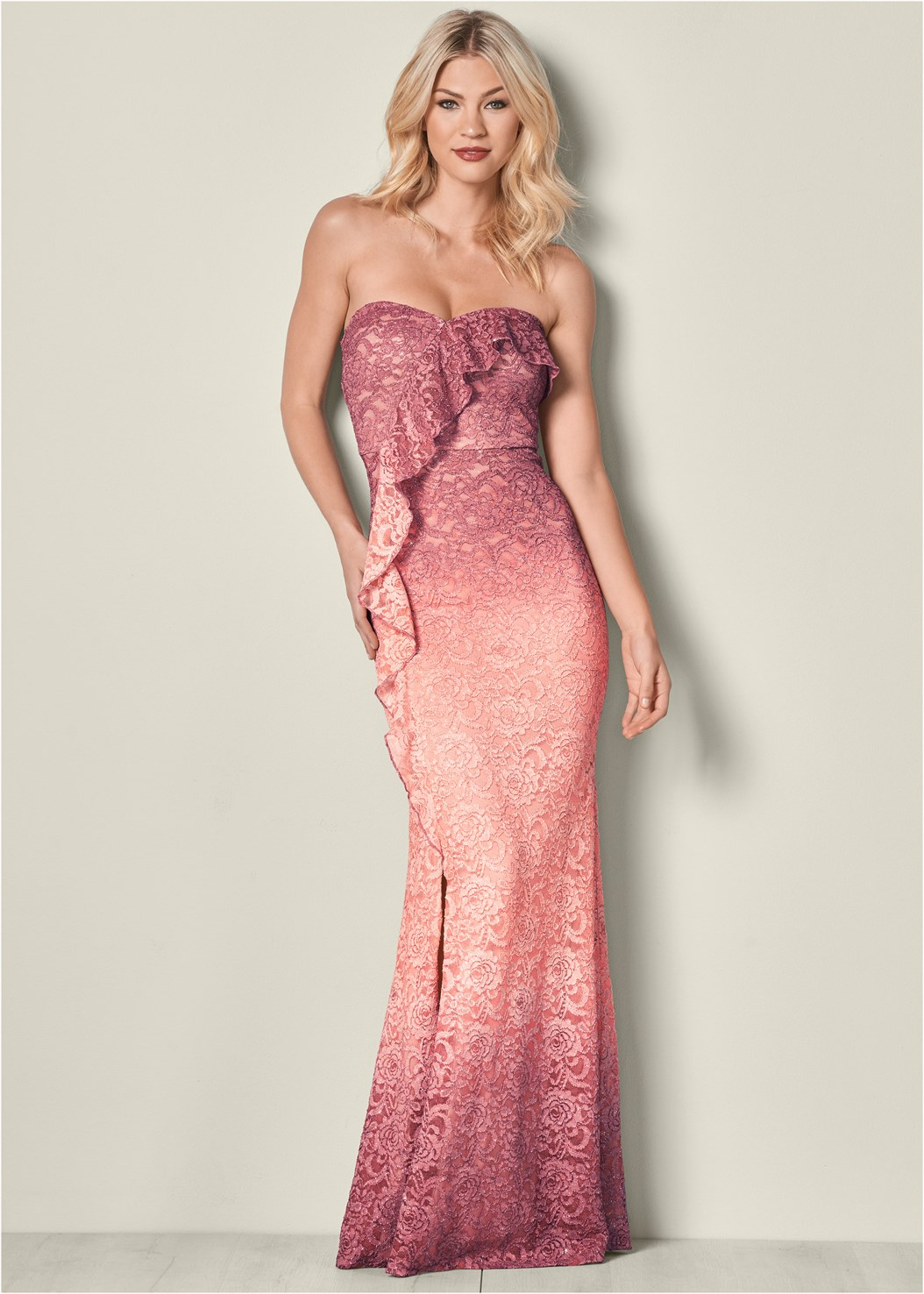 Ombre Glitter Long Dress,High Heel Strappy Sandals