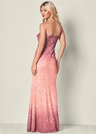 Back View Ombre Glitter Long Dress