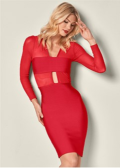 slimming mesh detail dress