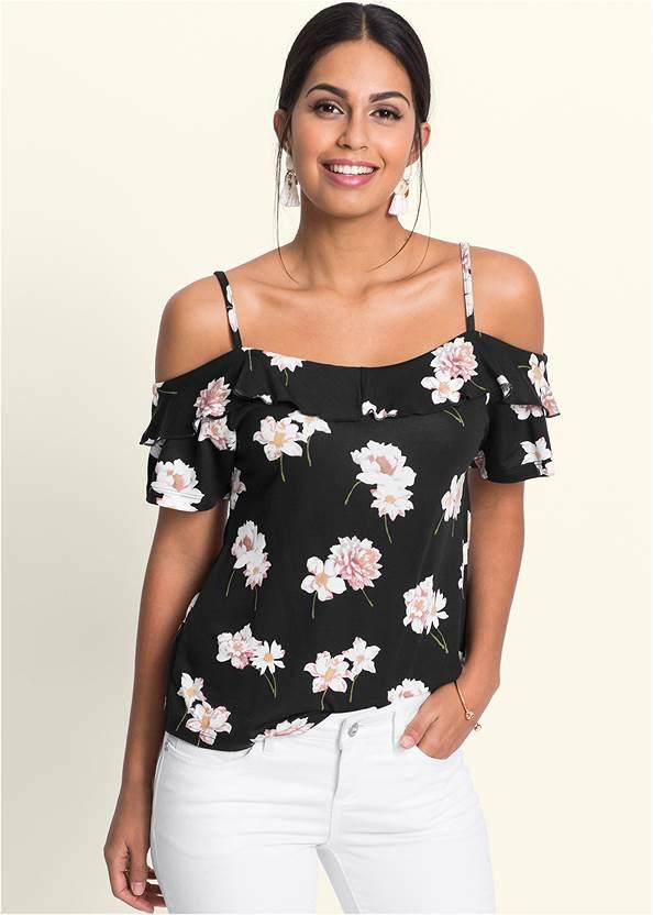 Cold Shoulder Floral Top,Mid Rise Color Skinny Jeans
