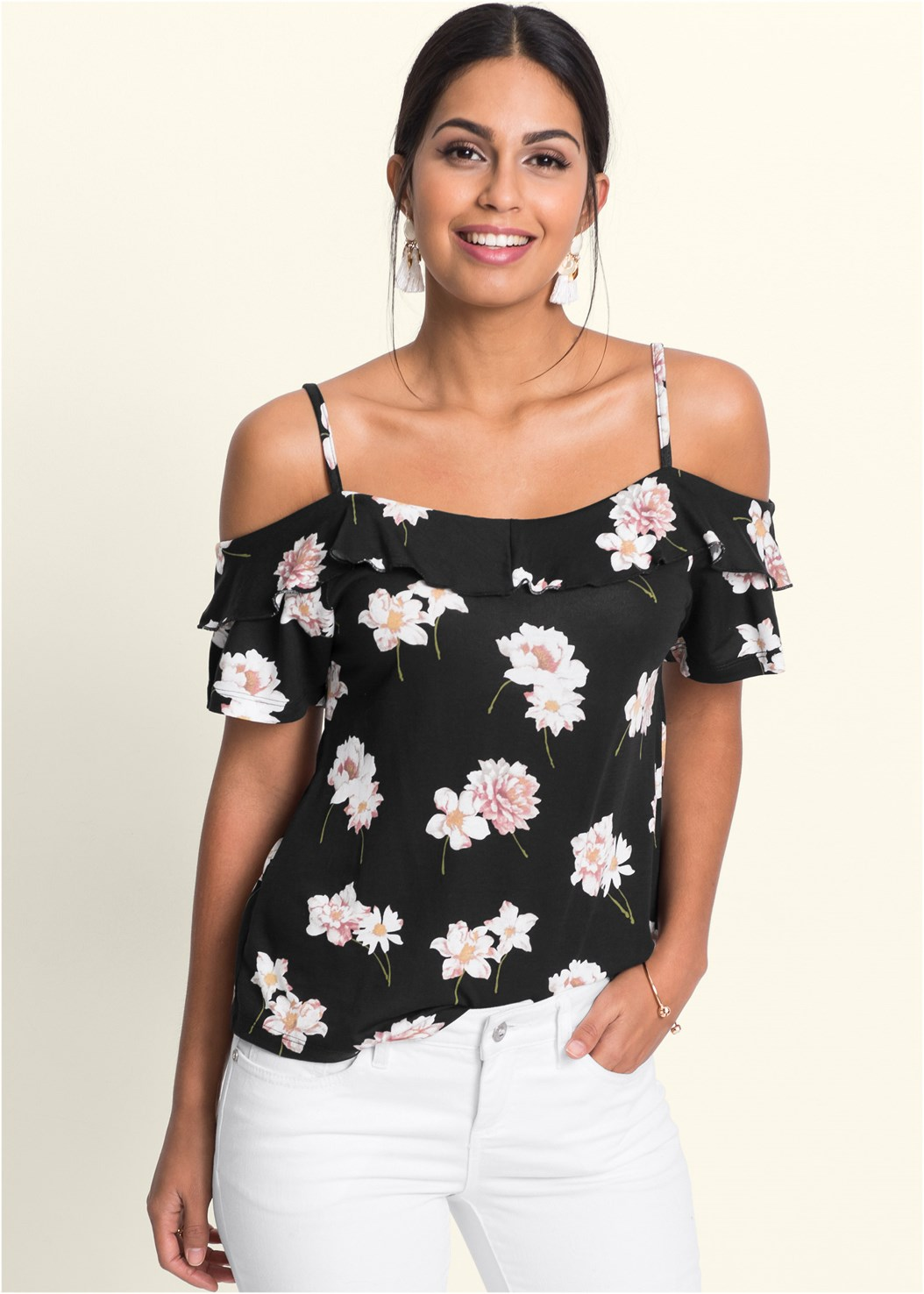 Cold Shoulder Floral Top,Mid Rise Color Skinny Jeans,Lucite Heel Mules