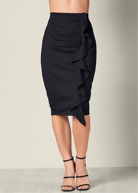 RUFFLE MIDI SKIRT,OFF THE SHOULDER TOP,LACE UP CAGE HEEL