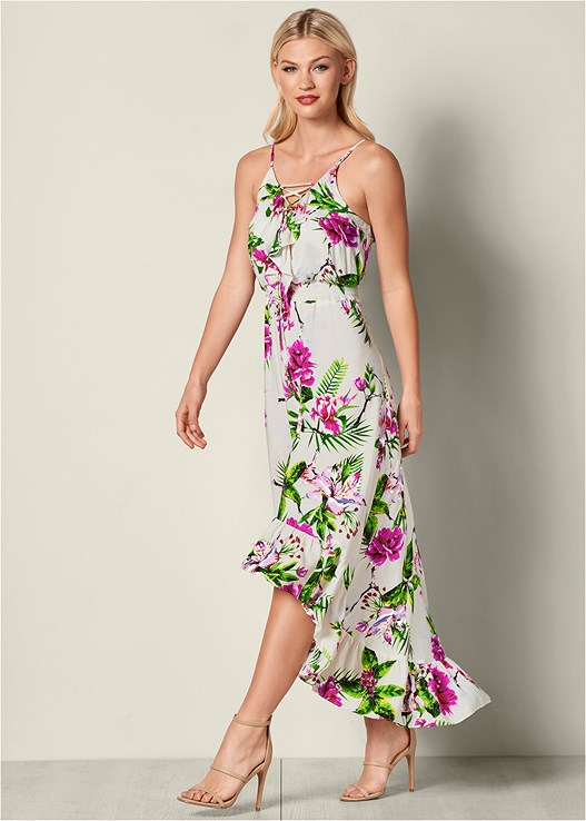 LACE UP FLORAL DRESS,HIGH HEEL STRAPPY SANDALS
