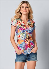 Front View Plunging V-Neck Top