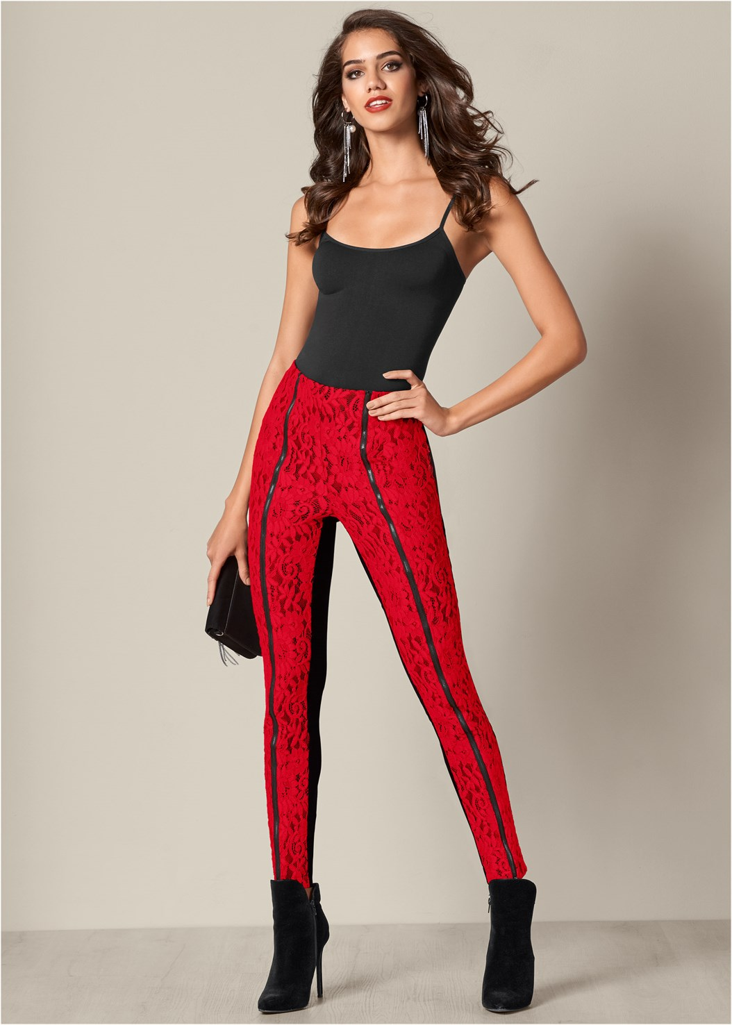 Lace Front Leggings,Seamless Cami,Faux Suede Pointy Booties,Rhinestone Fringe Earrings