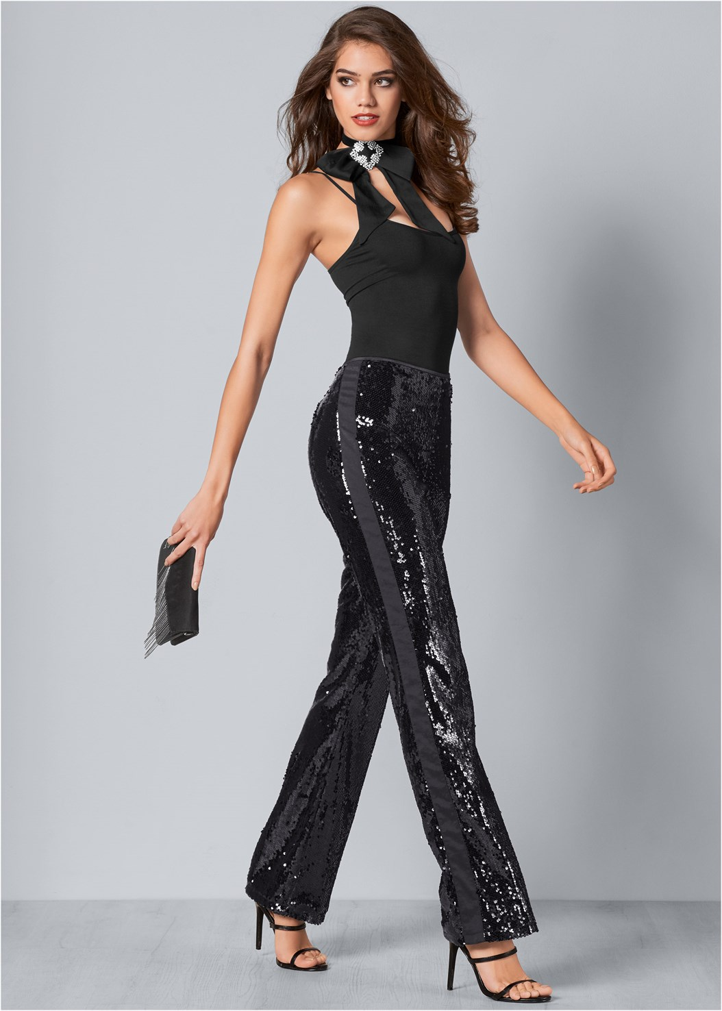 Sequin Pants,Seamless Cami,High Heel Strappy Sandals