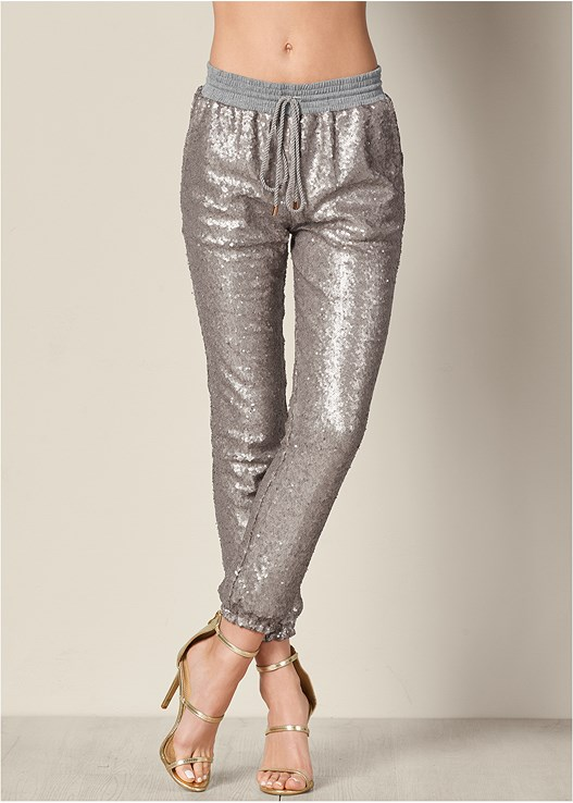 SEQUIN JOGGER PANTS,SEAMLESS CAMI,HIGH HEEL STRAPPY SANDALS