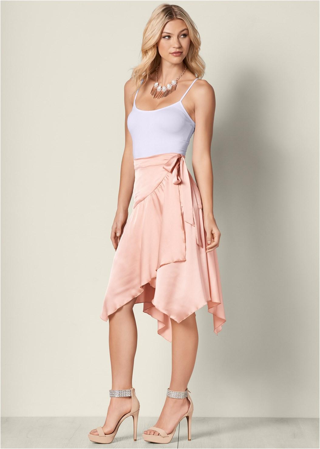 Wrap Midi Skirt,Basic Cami Two Pack
