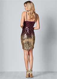 Back View Ombre Sequin Mini Dress