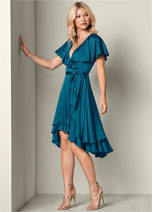 RUFFLE DETAIL WRAP DRESS,HIGH HEEL STRAPPY SANDALS