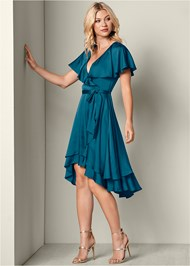 Front View Ruffle Detail Wrap Dress