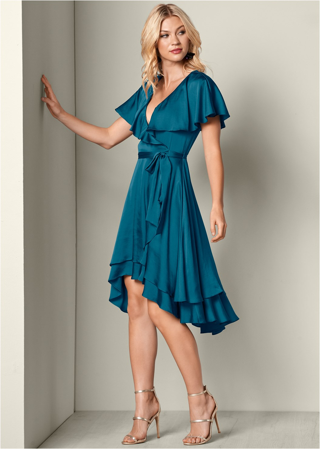 Ruffle Detail Wrap Dress,High Heel Strappy Sandals