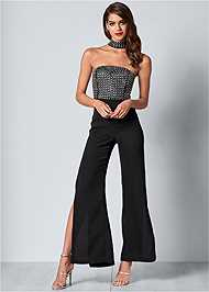 Front View Embellished Detail Jumpsuit