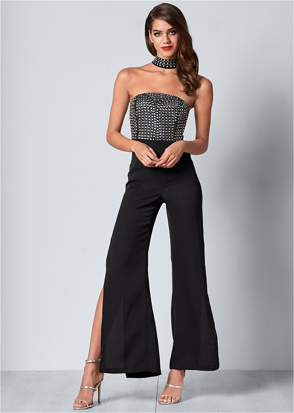 Embellished Detail Jumpsuit,High Heel Strappy Sandals