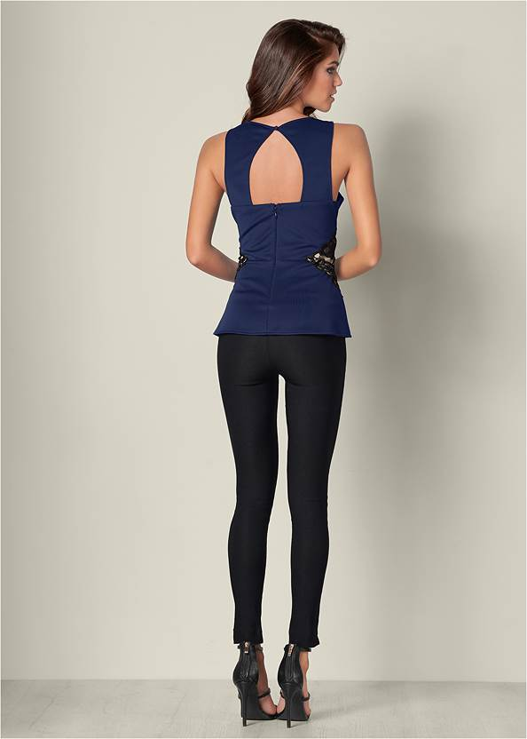 Back View Lace Waistband Trim Top