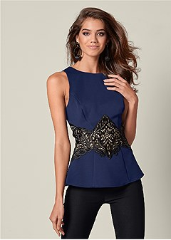 lace waistband trim top