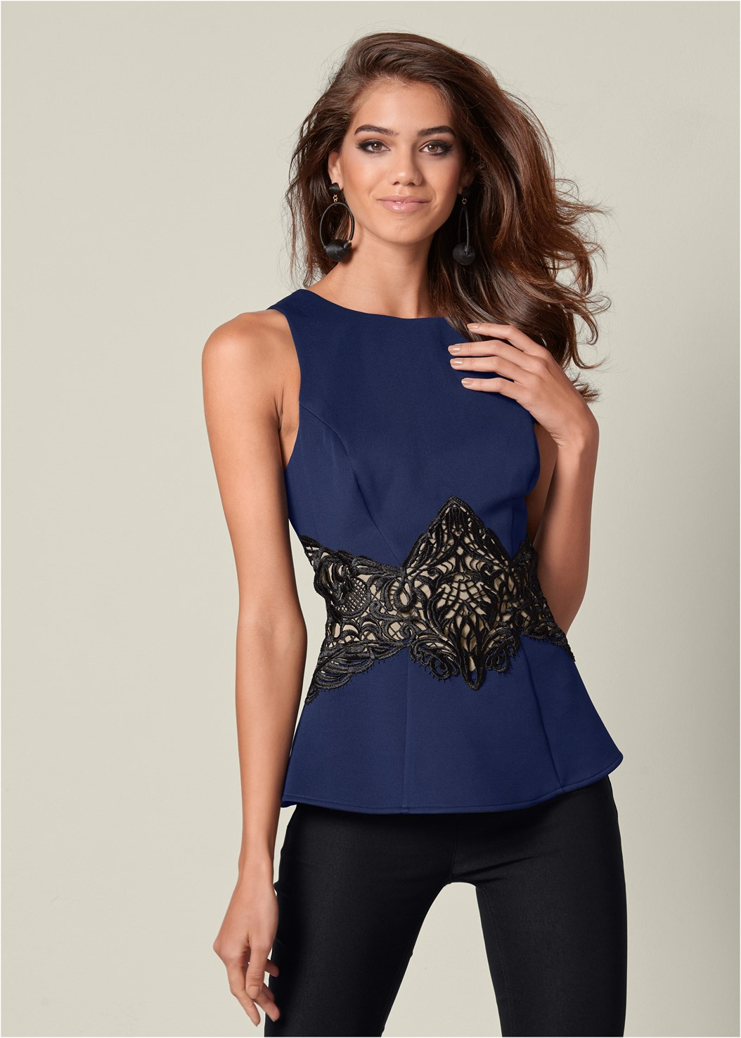 Lace Waistband Trim Top,Mid Rise Full Length Slimming Stretch Jeggings,High Heel Strappy Sandals,Bauble Hoop Earrings