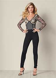 Front View Lace Detail Jumpsuit