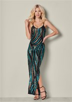 sequin detail long dress