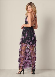 Back View 3D Floral Long Dress
