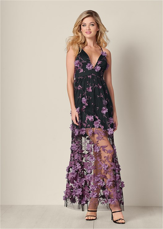 3D FLORAL LONG DRESS,HIGH HEEL STRAPPY SANDALS