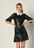 collar detail sequin dress