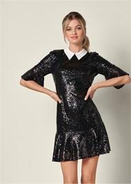 Collar Detail Sequin Dress