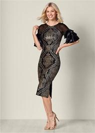 Sequin Detail Velvet Dress
