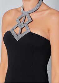 Alternate View Embellished Neck Trim Top