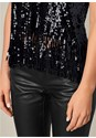 Alternate View Fringe Trim Sequin Top