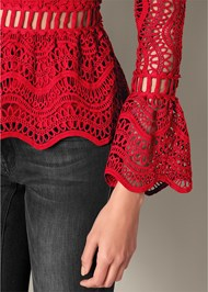 Alternate View Crochet Cold Shoulder Top