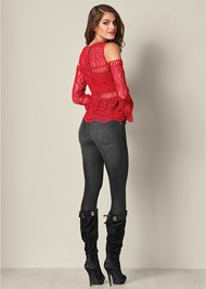 Back View Crochet Cold Shoulder Top