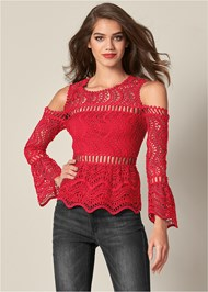 Front View Crochet Cold Shoulder Top