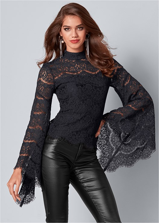 LACE BELL SLEEVE TOP,FAUX LEATHER PANTS,RHINESTONE FRINGE EARRINGS