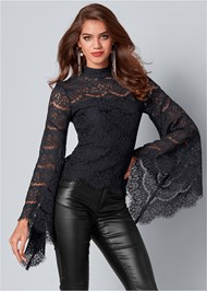 Front View Lace Bell Sleeve Top