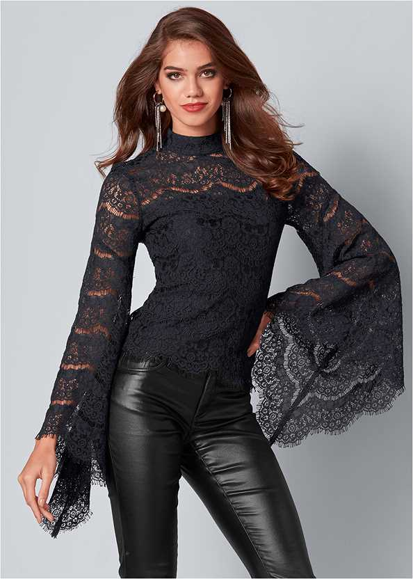 Lace Bell Sleeve Top,Faux Leather Pants,Slouchy Mid-Calf Boot,Rhinestone Fringe Earrings