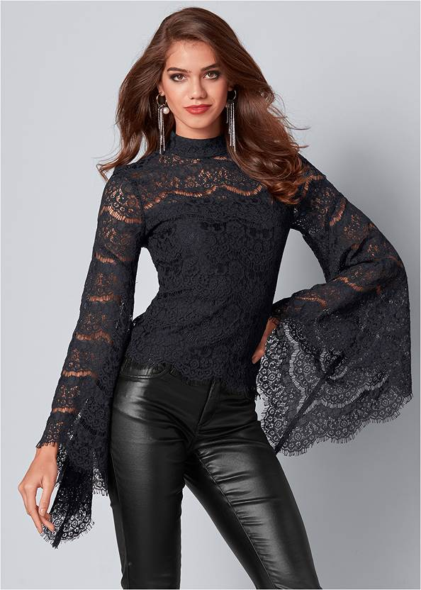 Lace Bell Sleeve Top,Faux Leather Pants,Slouchy Mid-Calf Boots,Rhinestone Fringe Earrings