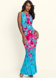 Front View Floral Print Maxi Dress