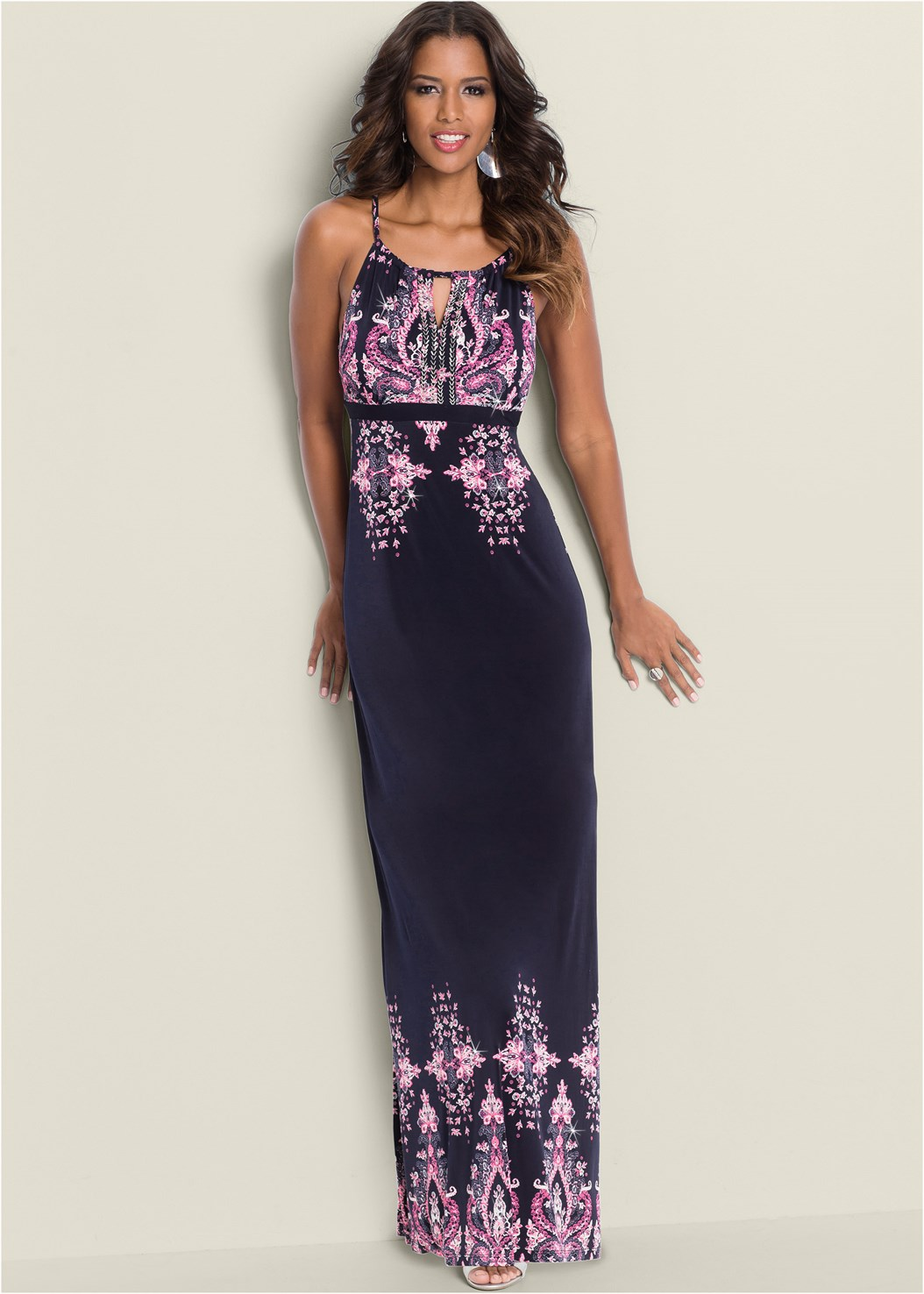Paisley Print Maxi Dress,Beaded Hoop Earrings