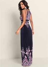 Back View Paisley Print Maxi Dress